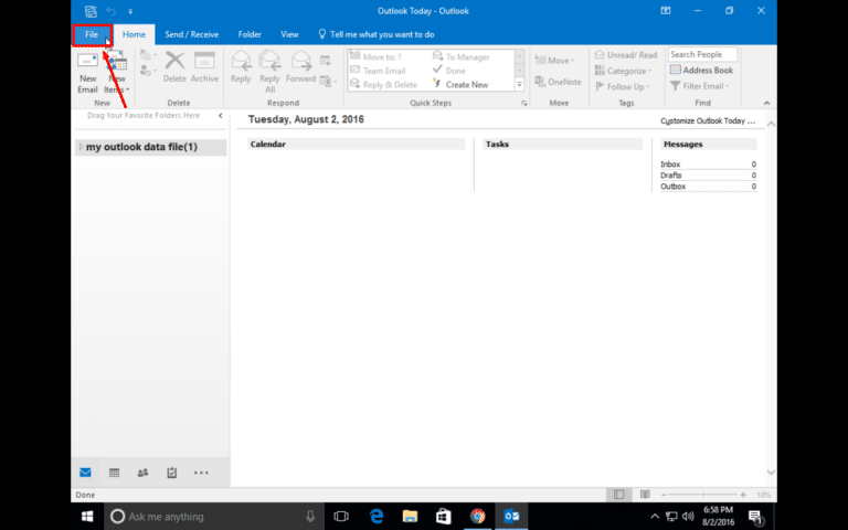 Gmail Outlook 2016 and 2013 Setup - Step 2