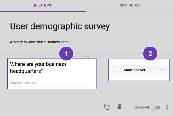 Add Text question to your Google form