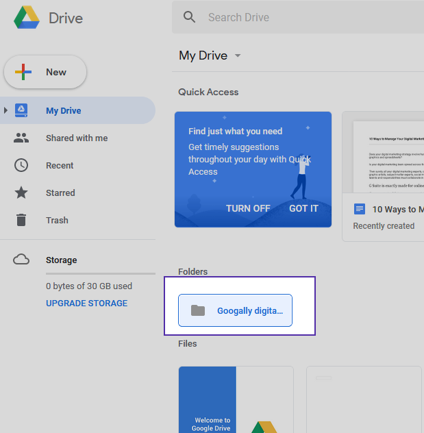 Your folder will now appear in Google Drive