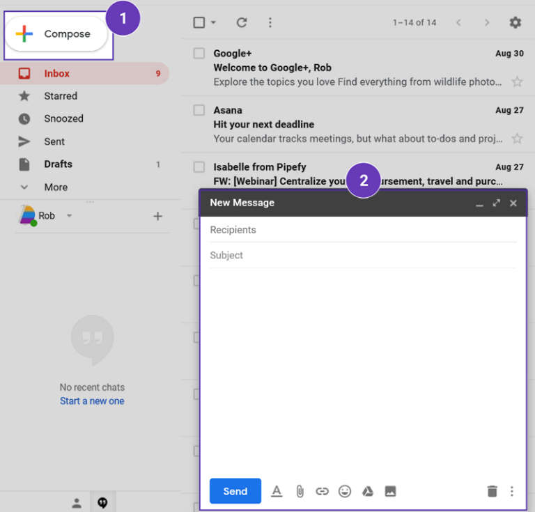 Click on Compose in your Gmail